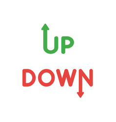 icon concept of up and down words with arrow vector image