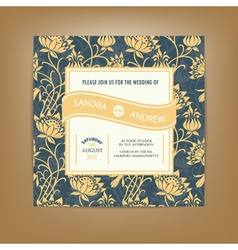 Invitation card dark with yellow flowers vector