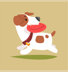 Jack russell puppy character playing with disk vector