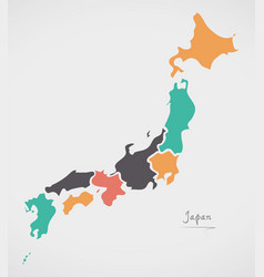 Japan map with states and modern round shapes vector
