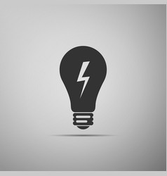 Light lamp sign bulb with lightning symbol icon vector