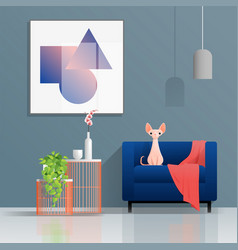 Living room background with furniture and cat vector