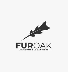 logo fur and leaf silhouette style vector image