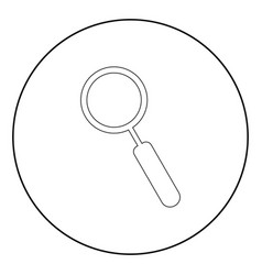 loupe the black color icon in circle or round vector image