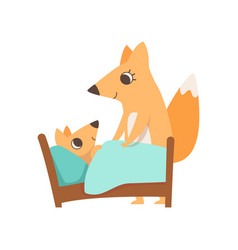 loving mother fox putting her baby to sleep vector image