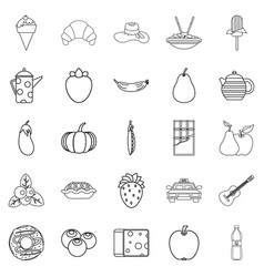 Luncheon icons set outline style vector