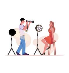 Man make photo woman photographer photographing vector