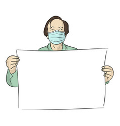 Man with surgical mask holding blank sign vector