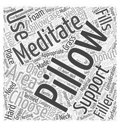Meditation pillow Word Cloud Concept vector