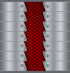 Metal background with rivets and red perforation vector