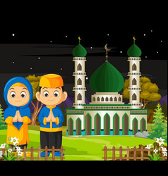 Mosque with kids in night view cartoon vector
