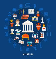 Museum round design concept vector