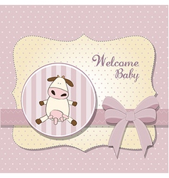 new baby girl announcement card with cow vector image