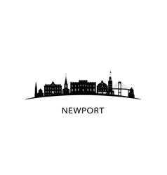 newport rhode island city skyline black cityscape vector image