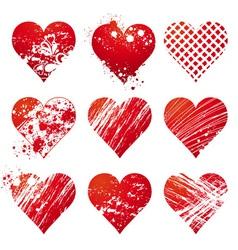 nine lovely red heart vector image