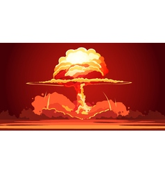 Nuclear Explosion Mushroom Cloud Retro Poster vector image