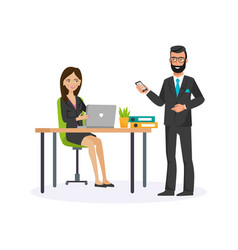 office worker woman talking vector image