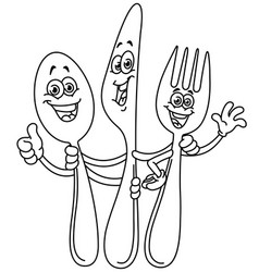 outlined spoon knife and fork cartoon vector image