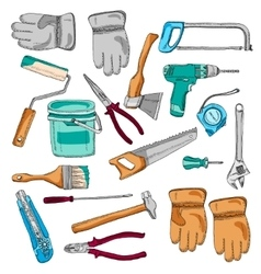 Painter working tools icons set color vector image