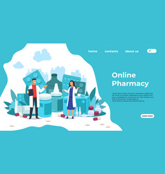 Pharmacy landing page medical support and drugs vector