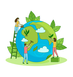 Protect nature ecology care earth filled vector