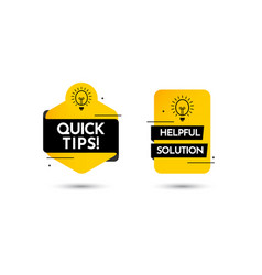 Quick tips help full solution text label template vector