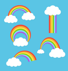 Rainbow with clouds set vector