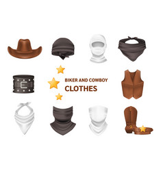 Realistic biker and cowboy clothing isolated vector