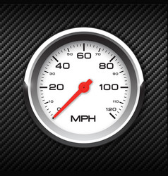 Realistic speedometer on carbon background vector