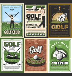 Retro golf club golfing sport equipment and player vector