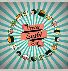 rounded sushi set vector image