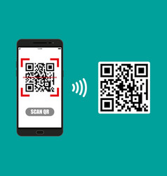 Scan qr code to mobile phone vector