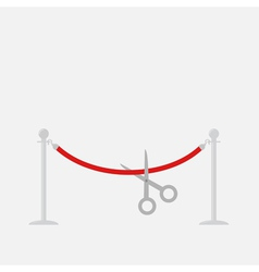 Scissors cutting red rope silver barrier stanchion vector image