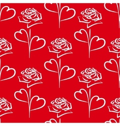 seamless background white roses and hearts vector image