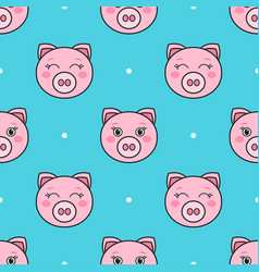 seamless pattern with pink cartoon funny pigs vector image