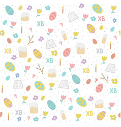 seamless simple pattern with eggs easter cake vector image