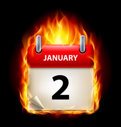 second january in calendar burning icon on black vector image
