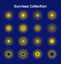 set bursting rays sunrise starburst burst flat vector image