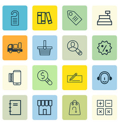 set of 16 ecommerce icons includes shop business vector image