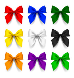 Set of bows in different colors isolated on white vector