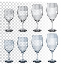 Set of empty transparent glass goblets for wine vector image
