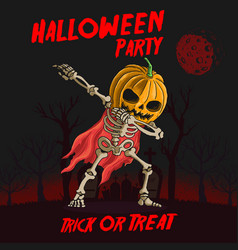 skeleton with pumpkin head dabbing dance vector image