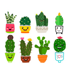 smiling cacti in pots vector image