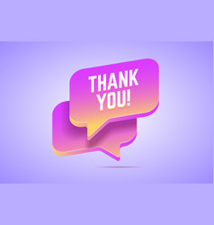 speech bubble that says thank you vector image