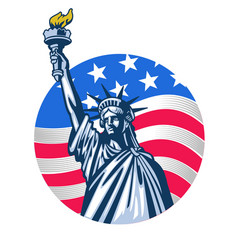 Statue liberty with usa flag as background vector