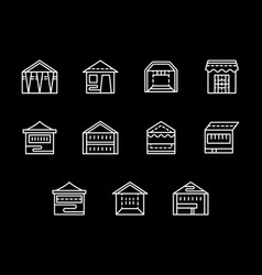 Street trade tents white line icons set vector