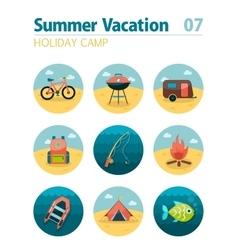 Summer camping icon set Holiday vector image