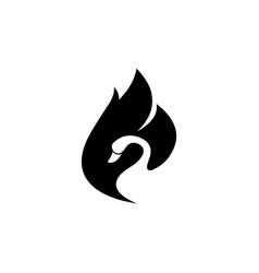swan negative space black color vector image