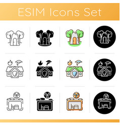 Temporary safe residence icons set vector