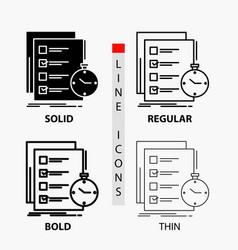 Todo task list check time icon in thin regular vector